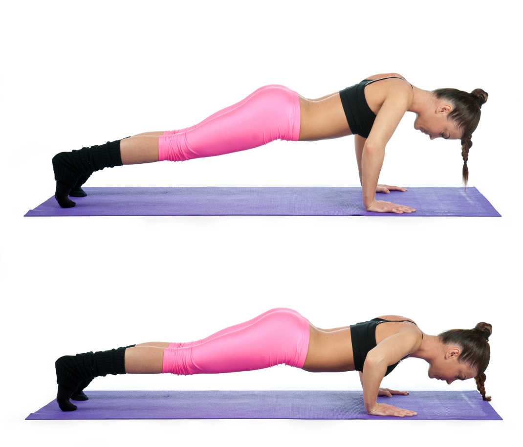 woman making push up exercise in two steps