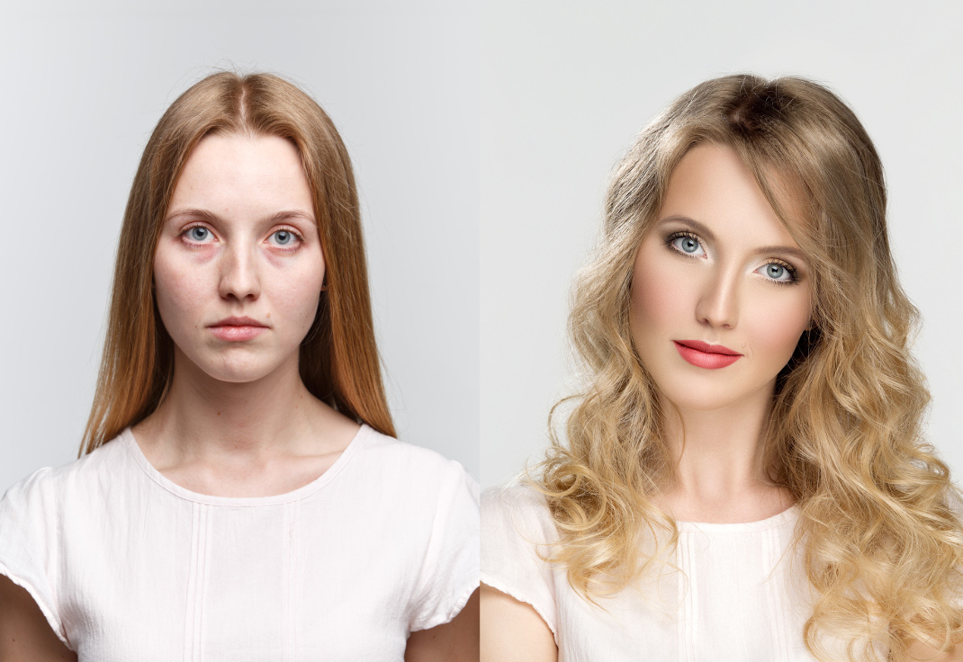 comparison two portraits before and after makeup and retouch in photostudio