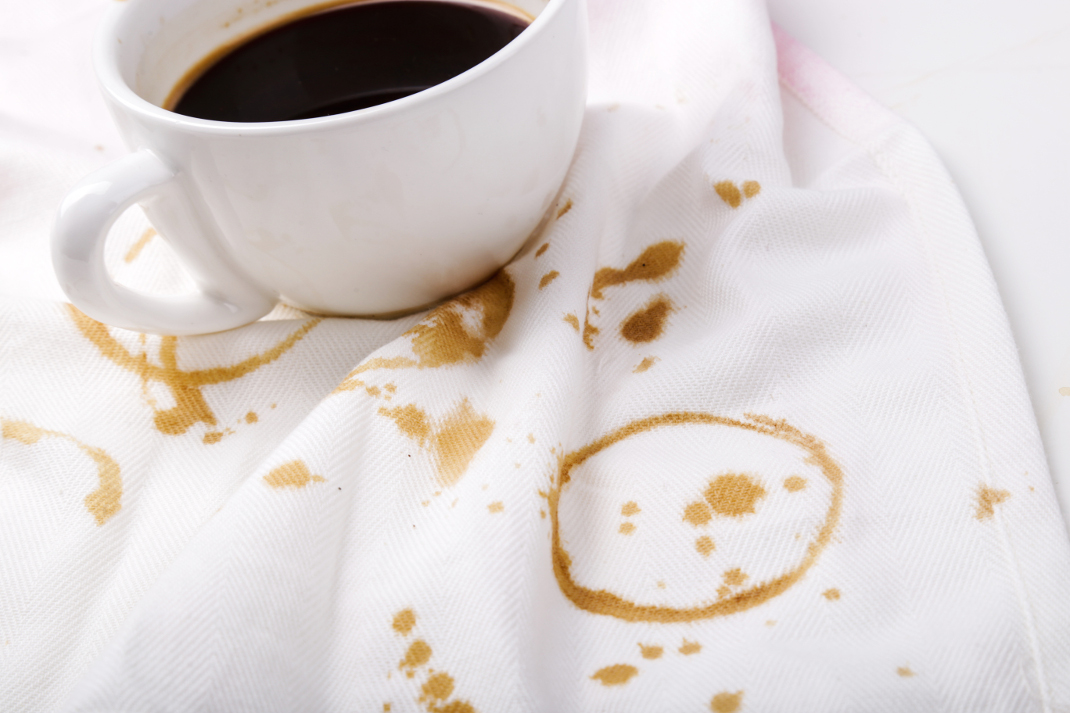 Coffee spots on the napkin