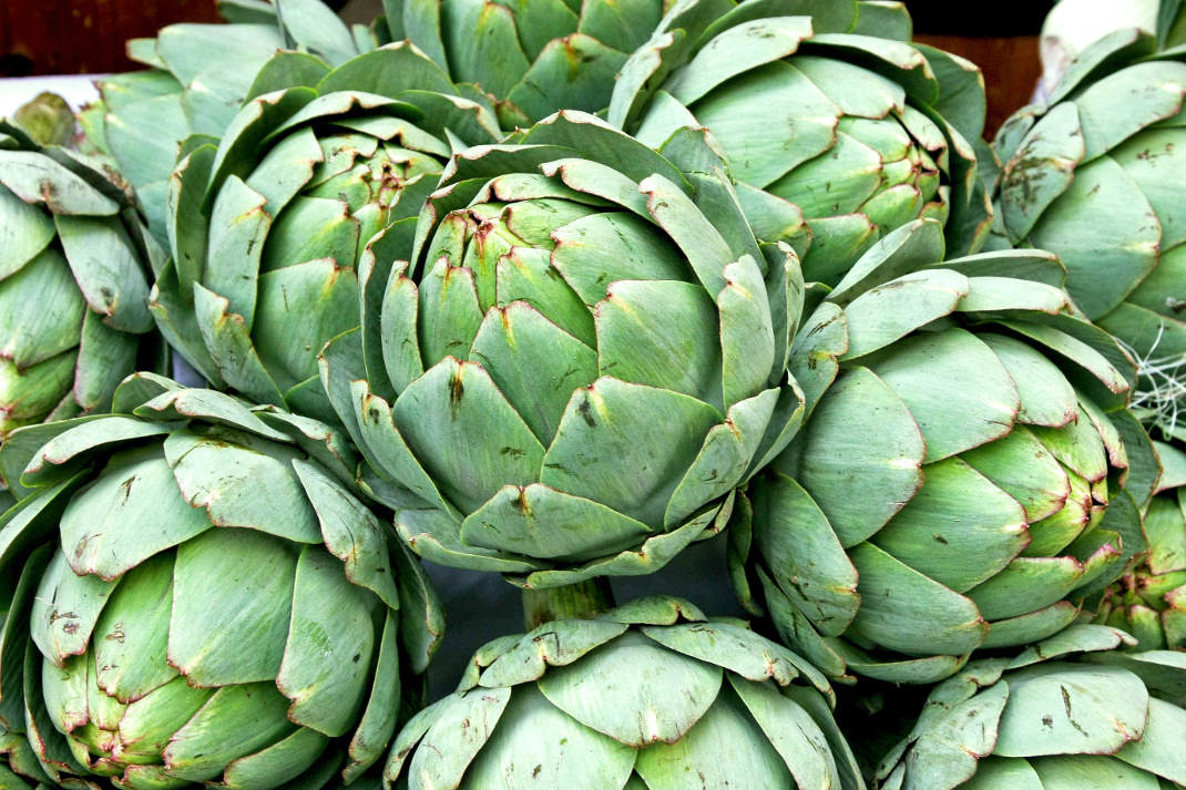 Natural and healthy fresh green artichokes vegetables